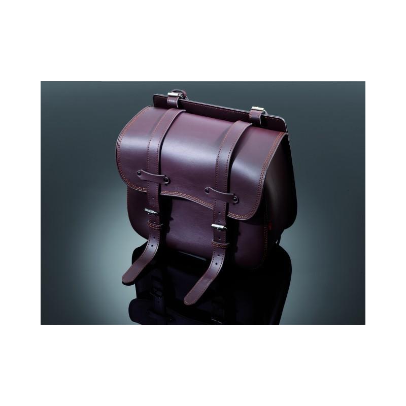 sacoche lat rale en cuir marron chez moto customs. Black Bedroom Furniture Sets. Home Design Ideas