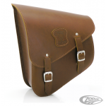 Sacoche en cuir marron Texas Leather de bras oscillant pour Softail - 9L