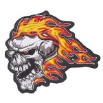 "Flame Skull Head Patch 4""x4"""