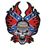 "Rebel Flame Skull patch 5.75""x6"""