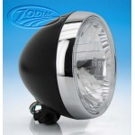 "Black 7"" headlight w/chrome bezel EU H4"