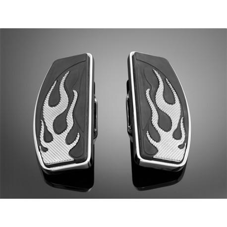 Platine repose-pieds Flame Conducteur Honda VT1100C2 ACE, VT1100 sabre, VT1300CX + fury (voir liste motos)